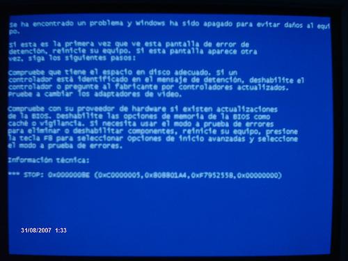 pantallazo azul windows