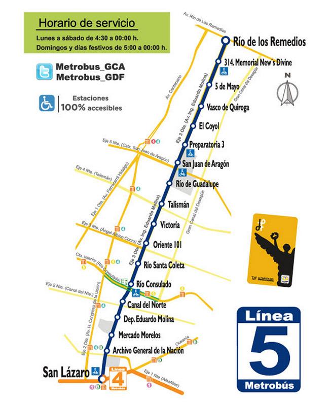 Metrobus Linea 5 mapa