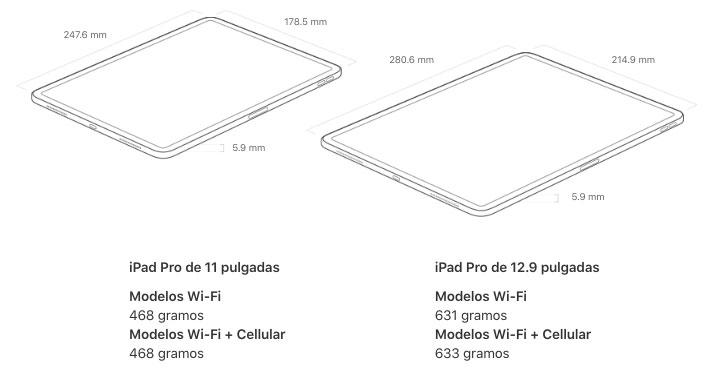 Peso iPad pro