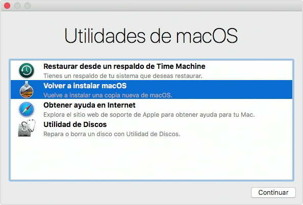 Restaura Mac OS